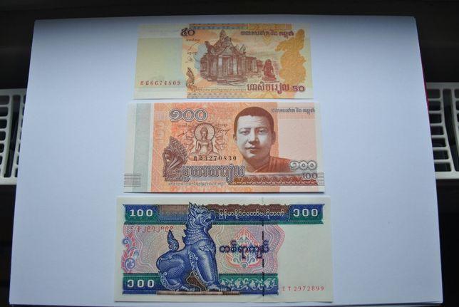 kambodźa 2szt i birma 1szt banknoty