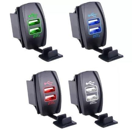 NOWA ładowarka samochodowa port 2x USB 3.1A 12-24V LED wodoodporna