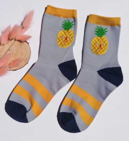 Wesołe owocowe skarpetki - wzór w ananasy - rozm. 36-40. Nowe. Uniseks