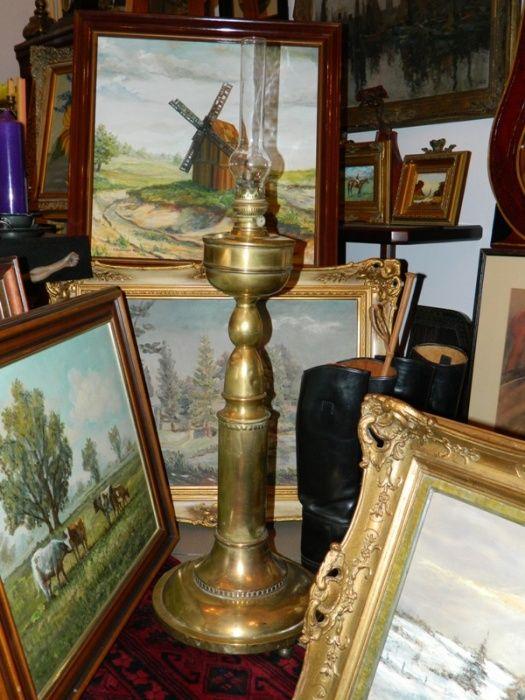 Lampa naftowa kolonialna z mosiądzu. Włocławek - image 1