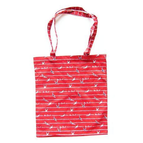 fajna torba na zakupy, czerwona torba, ładna eko torba z nadrukiem