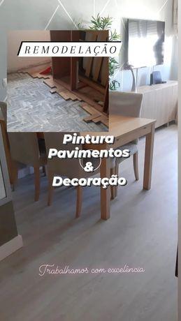 Pavimentos, flutuante, ladrilho, pintura, Pladur, sanca
