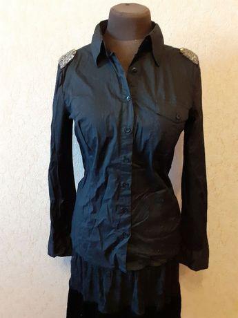 Черная рубашка Motivi с погончиками вышитими бисером, 44-48