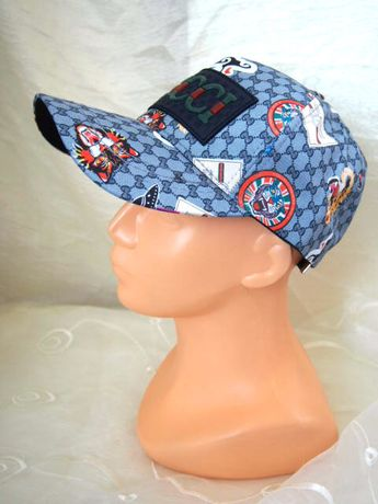 Gucci truckerka kolorowa szaro błękitna czapka z daszkiem wzorzysta