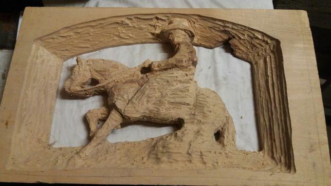 Rzeźba drewniana koń jeździec western kowboj