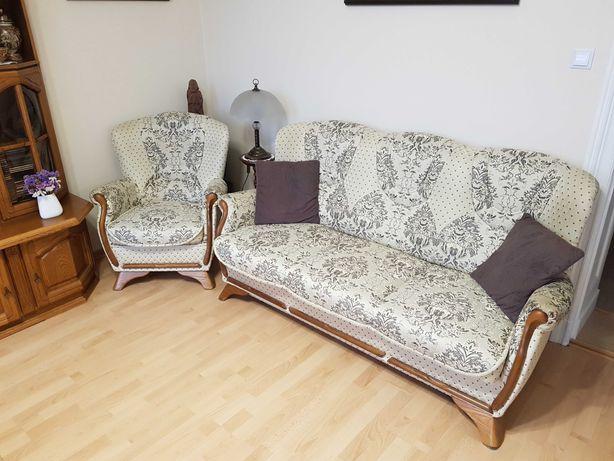 Elegancka stylizowana retro sofa kanapa z fotelem