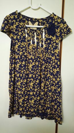Sukienka TU w motylki, granatowa 4-6 lat