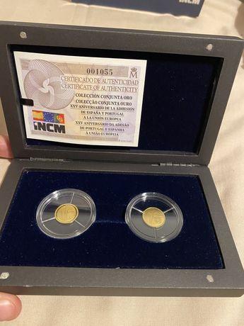 XXV Aniv da Adesão de Portugal e Espanha à UE - Moedas Euro Ouro PROOF
