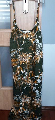 zielona sukienka palmy H&M khaki tropikalny wzór S M 38