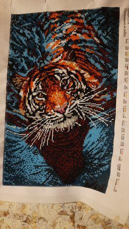 "Картина ческий бисер ""Тигр на охоте"", хороший подарок"