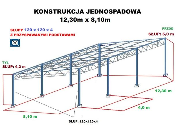 Wiata rolna 8m x 12,3m garaż Konstrukcja skręcana Hala Magazyn Blacha