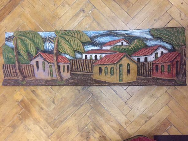 Картина с резьбой по дереву Бразилия Рио-де-Жанейро