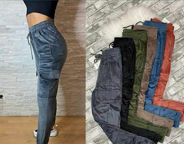 Bojówki spodnie welurowe dresy modne hit damskie welurki