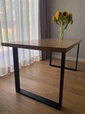 Stół loftowy lity dąb 4cm blat 160x80 skandynawski industrialny