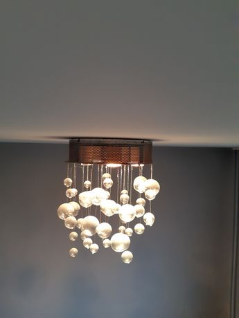Srebrna lampa plafon, Paul Neuhaus Alano, bąbelki, szklane kule