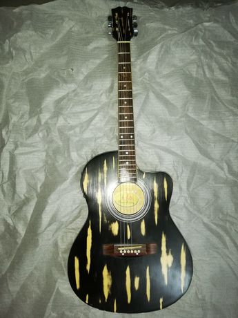 Guitarra eletroacústica preta nova