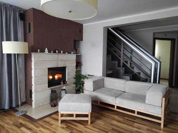 Nowoczesna Drewniana Sofa I Pufa