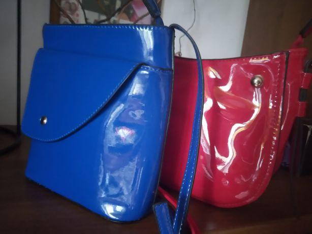torebka lakierowana niebieska Gratis czerwona