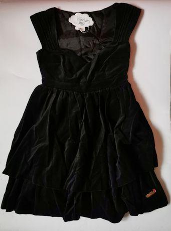 Sukienka czarna z aksamitu aksamit mini gothic goth vkei punk emo XS/S