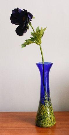 Wazonik szklany ręcznie malowany niebiesko-żółty