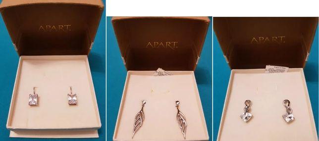 Srebrne kolczyki Apart rożne wzory listki kryształy