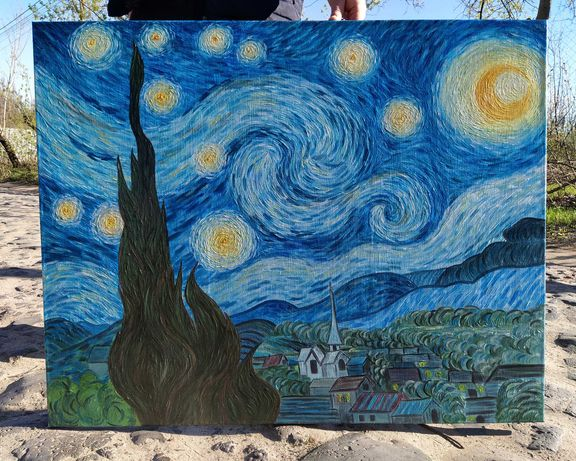 Картина маслом репродукция Ван Гог Звёздная ночь. Холст, масло 100х80