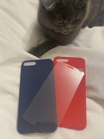 Стекло чехол на Iphone 7 plus iphone 8 plus