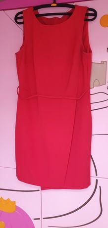 Sukienka elegancka wesele czerwona rozciecie 38 40