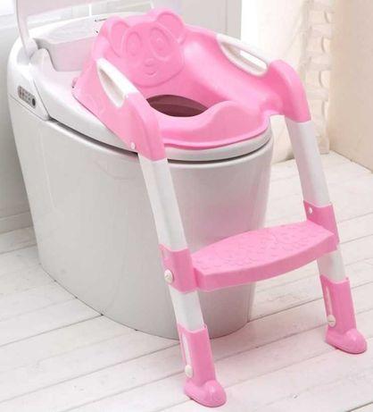 Assento dobrável com escada ajustável para vaso sanitário