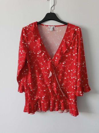 Czerwona bluzka w kwiaty Amisu S/M