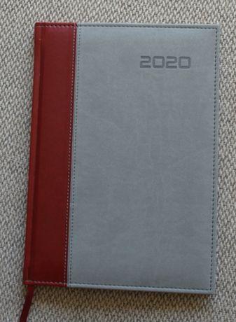 Kalendarz 2020 jako notatnik, rozmiar: 17 cm x 24 cm, szary z pasem