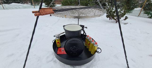 GRILL ogrodowy Trójnóg Ruszt 70 na ognisko palenisko kociołek emalia