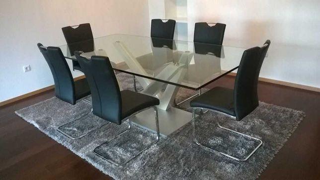 Mesa de jantar grande de vidro (220cm x120) COMO NOVA