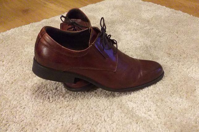 Buty skórzane, półbuty brąz r. 42, 28,5cm