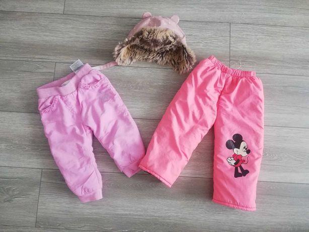 Ocieplane spodnie na chłodne dni i czapka HM rozmiar 80