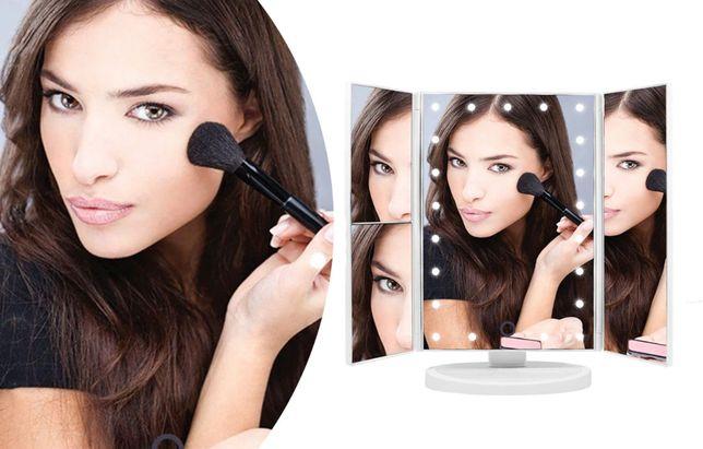 Настольное зеркало для макияжа тройное с подсветкой и увеличением