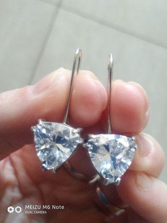 Серебряные серьги сережки родированые