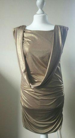 Śliczna brązowo-złota sukienka Nowa M
