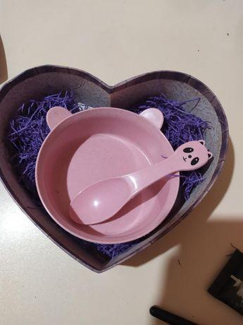 Набор посуды подарок розовый ЭКО девочке прикорм пшеничная солома цена