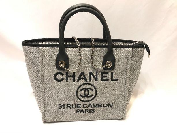 Chanel torba torebka usztywniana A4 szara