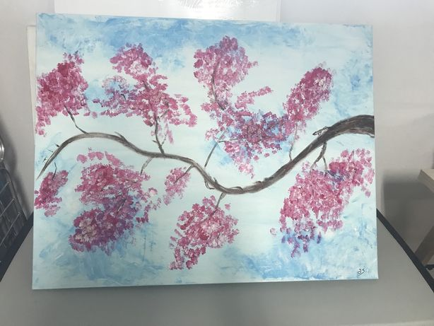 Joana Santos - Acrílico ( tela 90x70 cm) - árvore japonesa