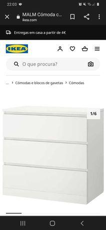 Comoda Malm Ikea 3 gavetas