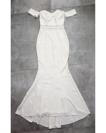 Przepiękna długa biała sukienka maxi hiszpanka wieczorowa śliczna S 36