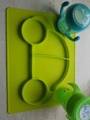 Mata silikonowa talerzyk  + kubki niekapki