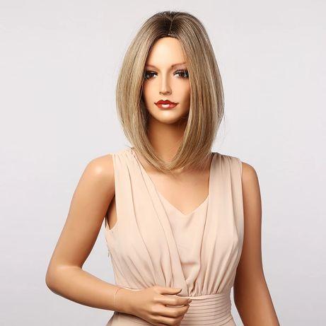 Peruka blond bob long