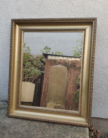 Lustro stare w stylowej drewnianej złotej ramie 63x53 cm