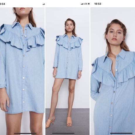 Jeansowa koszulowa sukienka mini Zara