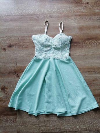 Sukienka miętową koronką XS dostawa 1zł