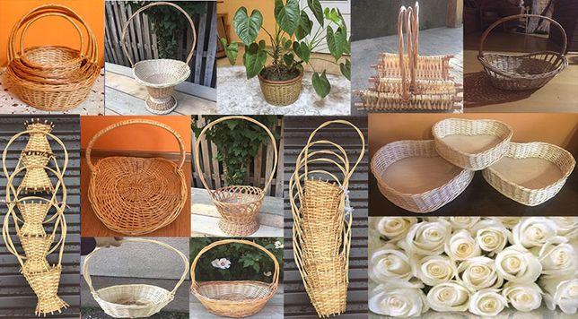 Плетені кошики з лози для квітів та Пасхи