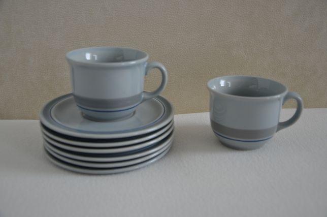 Zestaw komplet małe filiżanki talerzyki podstawki niebieskie